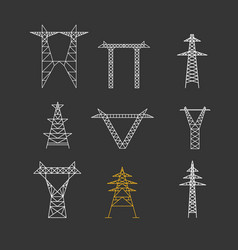 silhouettes of high voltage electric post icon set vector image