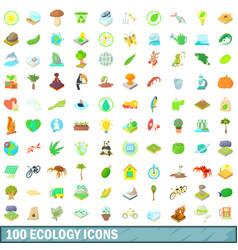 100 ecology icons set cartoon style vector image