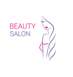 beautiful woman logo template for hair vector image vector image