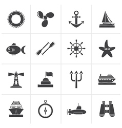 Black Marine and sea icons vector image vector image