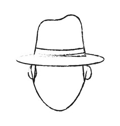Blurred silhouette front view faceless explorer vector