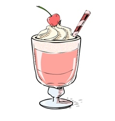 Creamy milk shake with cherry and foam vector image vector image