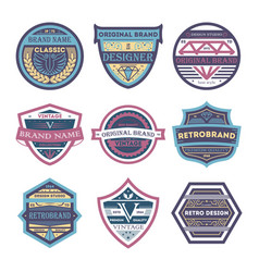 creative vintage brand isolated label set vector image