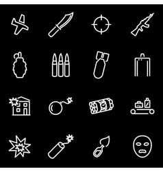 Line terrorism icon set vector