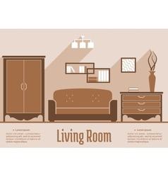 Living room interior flat design vector image