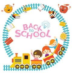School Train Kids Frame vector image