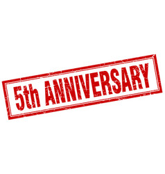 5th anniversary square stamp vector image