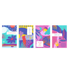 abstract brush posters trendy pastel brash vector image