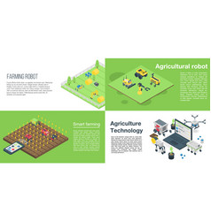 Agricultural robot banner set isometric style vector