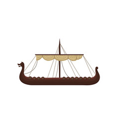 Ancient viking scandinavian draccar norman ship vector