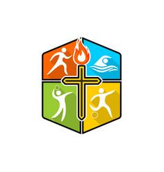 Athletic christian logo vector