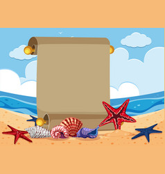 banner template with starfish on the beach vector image