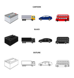 battery and transport cartoonblackoutline icons vector image
