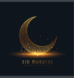 Beautiful eid mubarak golden decorative moon vector