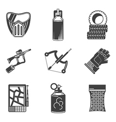 Black icons collection for paintball vector image