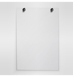Blank white poster hanging on wall vector image