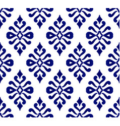 Blue and white damask seamless pattern vector