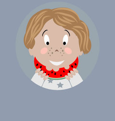 Boy with watermelon icon vector image