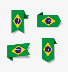 brazilian flag stickers and labels vector image