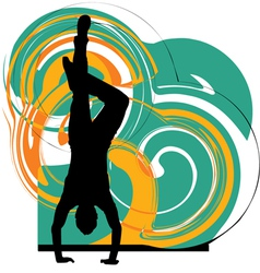 Breakdancer dancing on hand stand vector image vector image