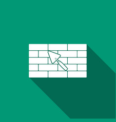 Brick wall with trowel icon with long shadow vector