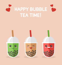 Bubble tea or pearl milk tea cartoon vector