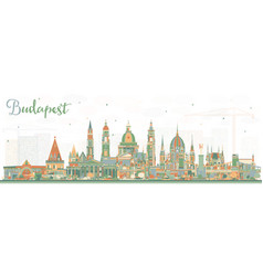 Budapest hungary city skyline with color buildings vector