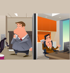 businessmen talking using a string can phone vector image