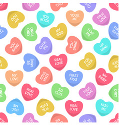 candy seamless hearts pattern colorful heart vector image