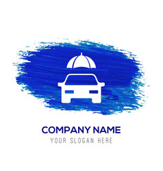 Car protection icon - blue watercolor background vector