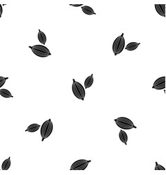 Cardamom pods pattern seamless black vector