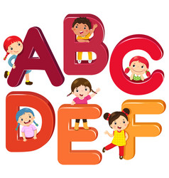 Cartoon kids with abcdef letters vector