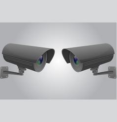 Cctv camera set black security surveillance vector