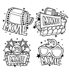 Cinema and 3d movie advertising designs in cartoon vector image