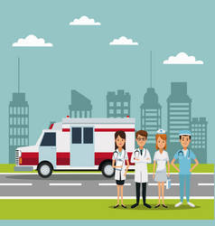 City landscape scene with ambulance truck and team vector