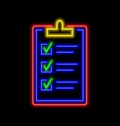 Clipboard with all checked boxes neon sign bright vector