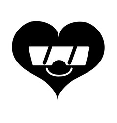 Contour smile heart passion kawaii with sunglasses vector