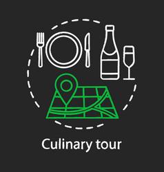 Culinary tour chalk concept icon vector