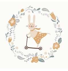 cute bunny rides by cycle vector image
