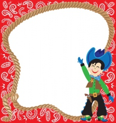 Cute cowboy birthday party inv vector