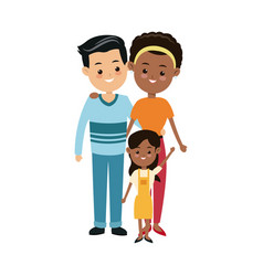 Cute family multiracial happy relation image vector