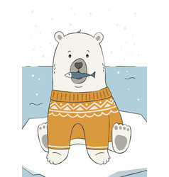 Cute hand drawn polar bear in yellow sweater vector
