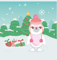 cute polar bear with hat gifts and trees merry vector image