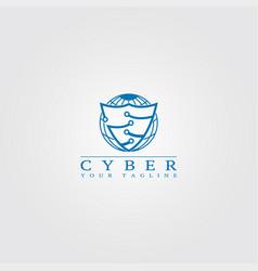 cyber security logo template security logo vector image
