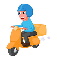 Delivery man cartoon with scooter vector