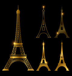 Different golden eiffel tower landmark set vector
