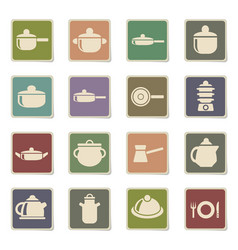 dishes icon set vector image
