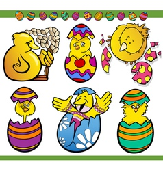 Easter chicks set cartoon vector