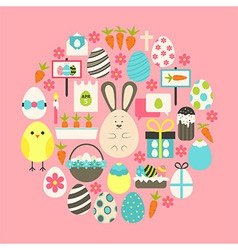 Easter Flat Icons Set over pink vector