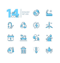 Ecology - set of line design style icons vector